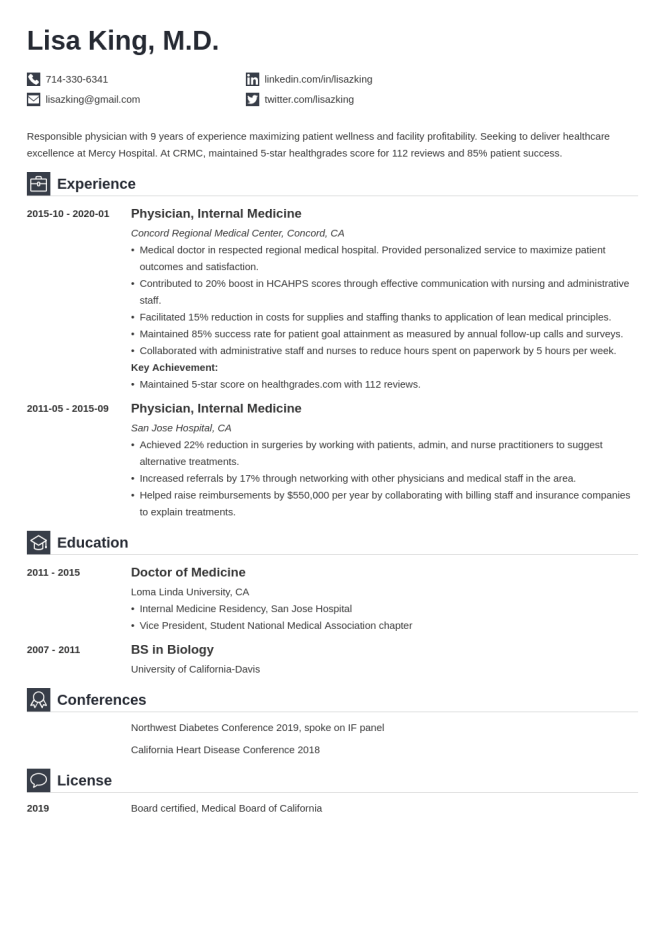 Medical Doctor Resume Template Guide