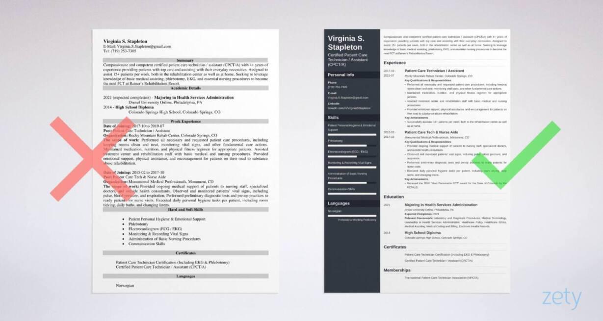 Patient Care Technician Resume Sample Guide 20 Pct Job