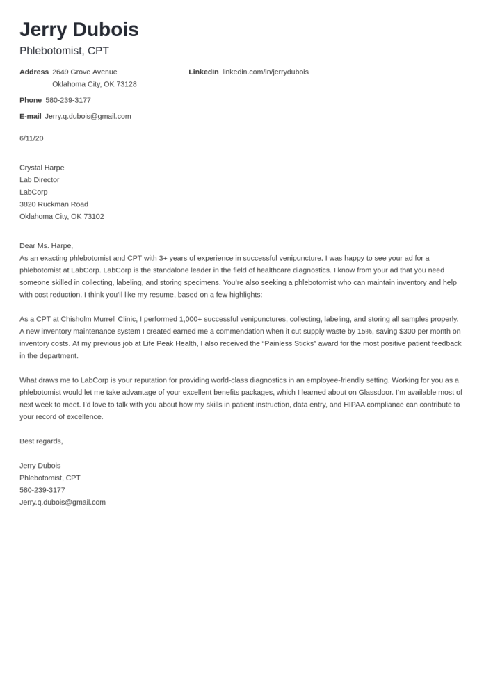 Phlebotomist Cover Letter Examples Writing Guide