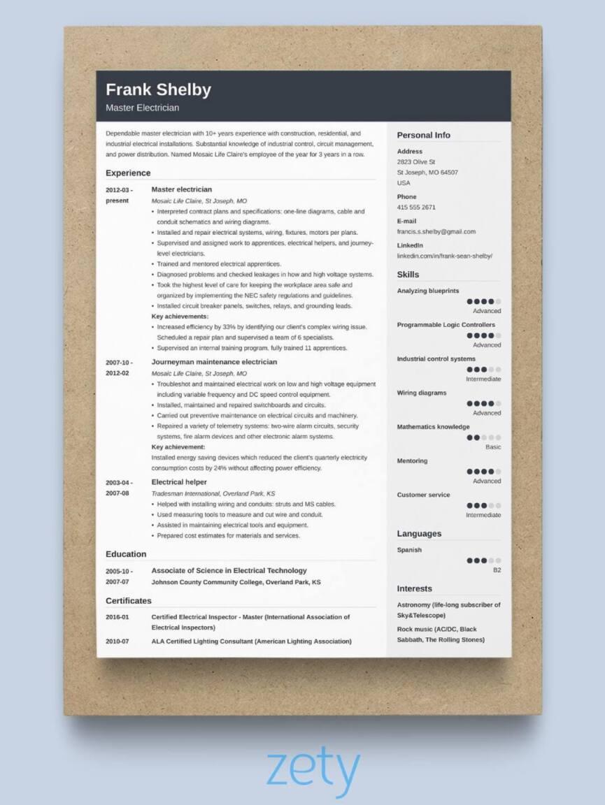 reverse-chronological resume
