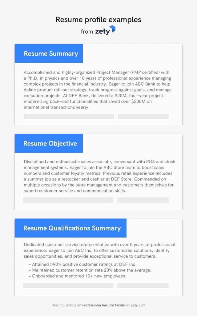 7 Professional Resume Profile Examples & Section Template