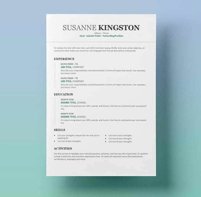 25 Resume Templates For Microsoft Word