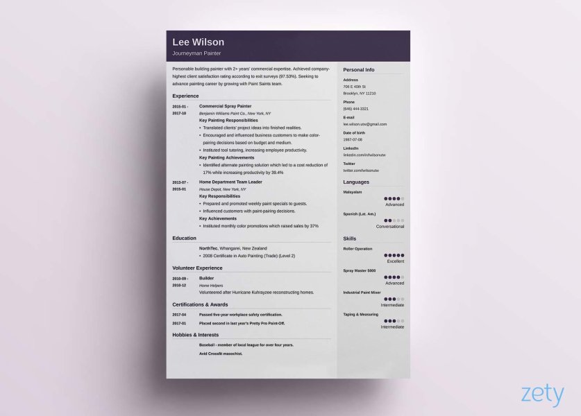 Simple Resume Templates  15 Examples to Download   Use Now  purple simple resume template with two columns