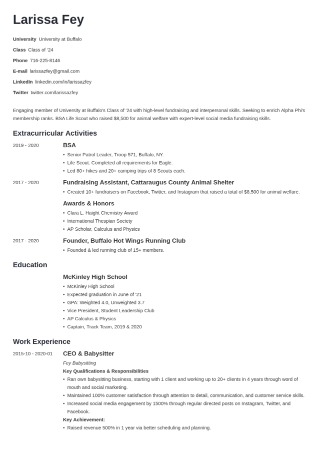 Sorority Resume Template & Free Examples (and a Builder!)