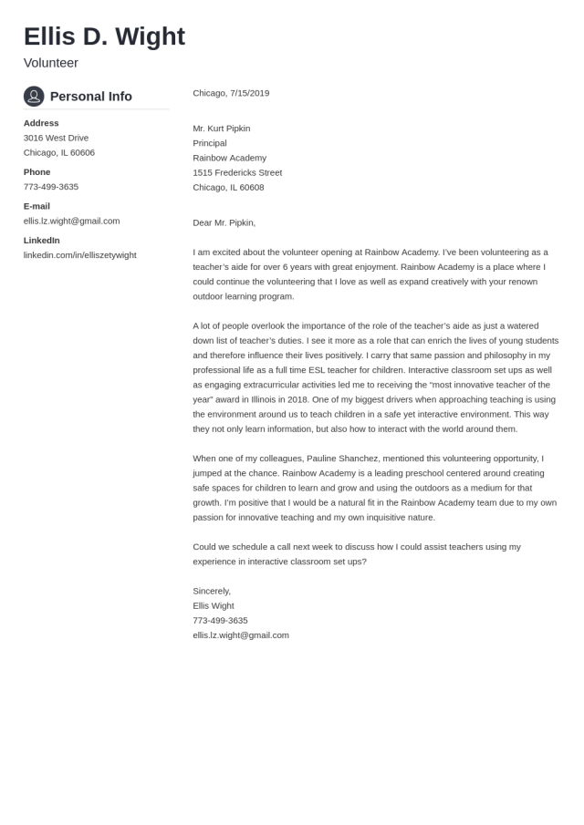 Volunteer Cover Letter Example & Writing Guide