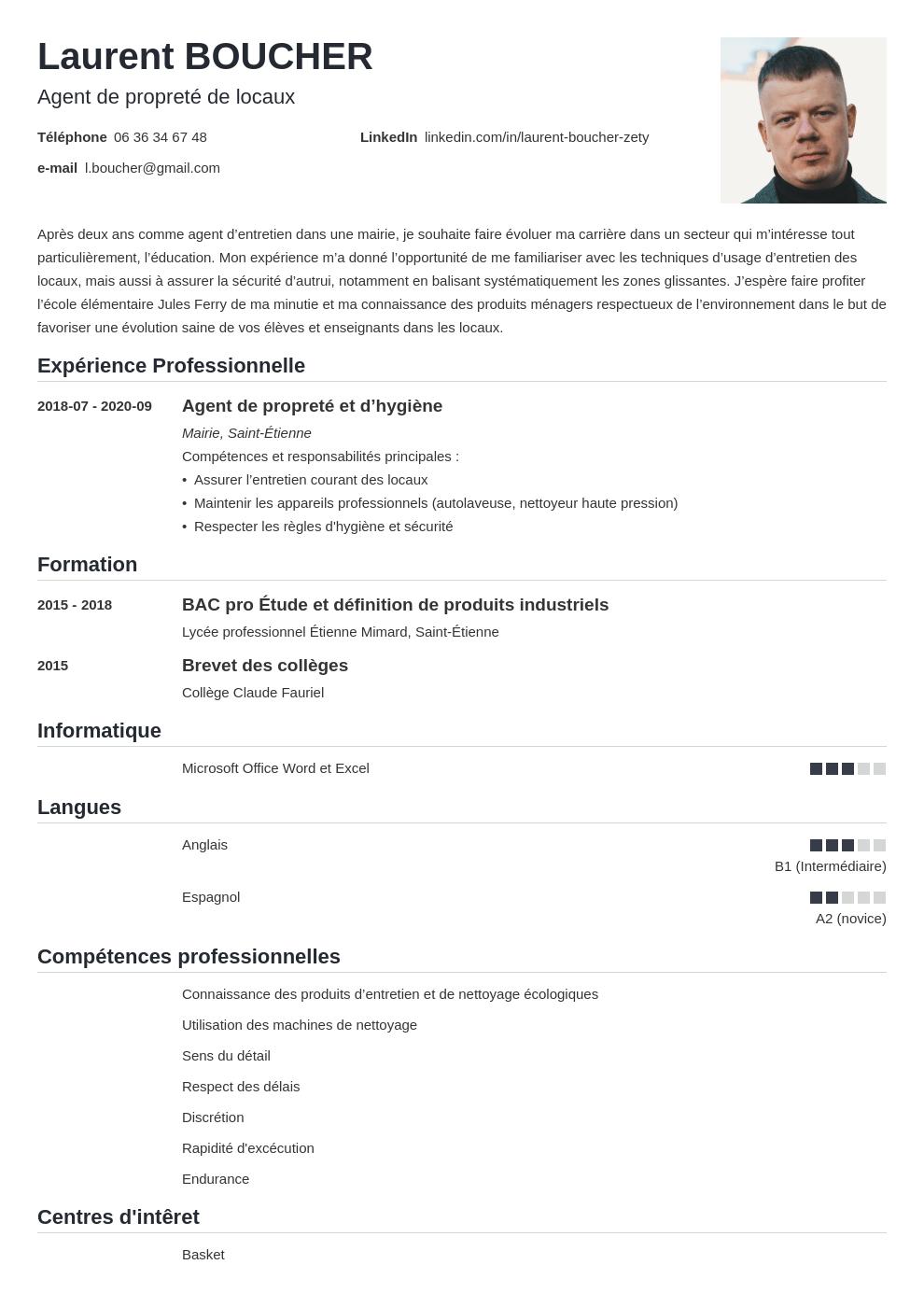 Exemple De Cv Agent D Entretien Et Nettoyage Competences