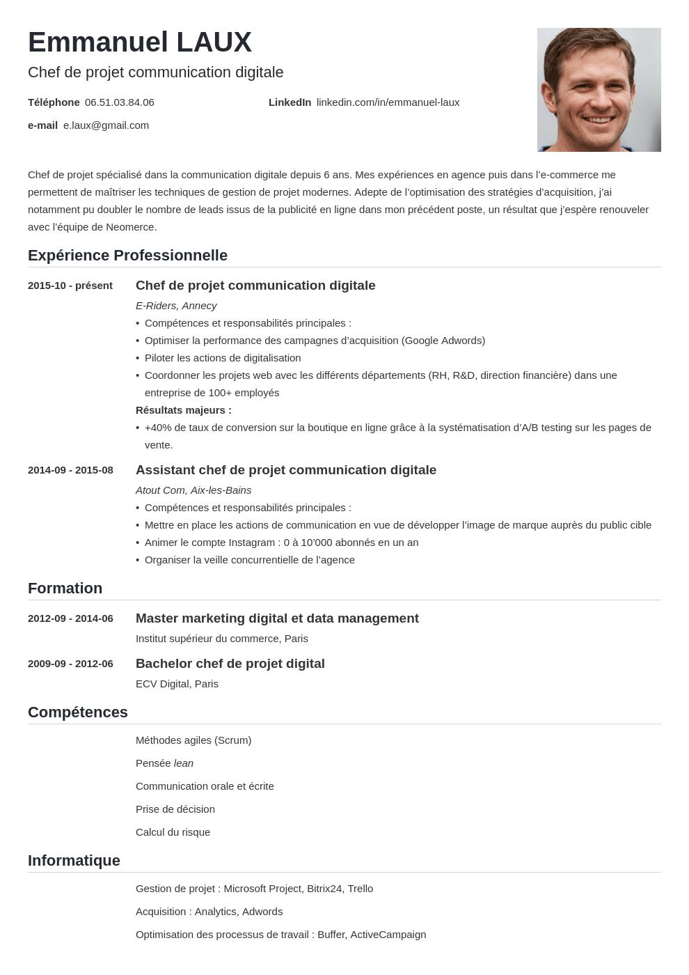 Cv Chef De Projet Exemple Charge De Projet Project Manager
