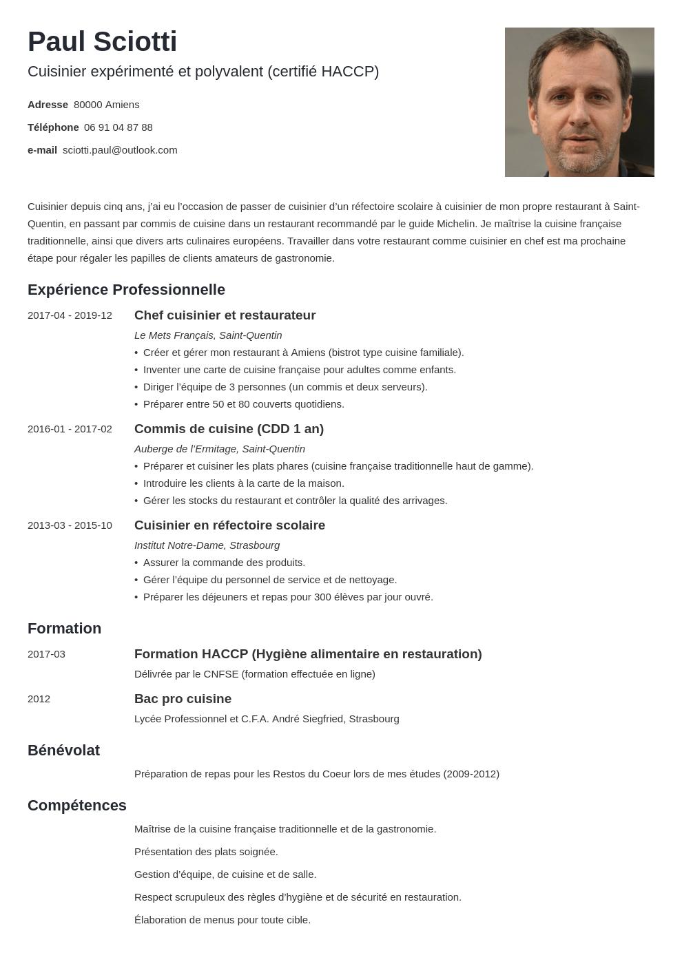 Cv Cuisinier E Exemple Pour Travailler Dans La Restauration