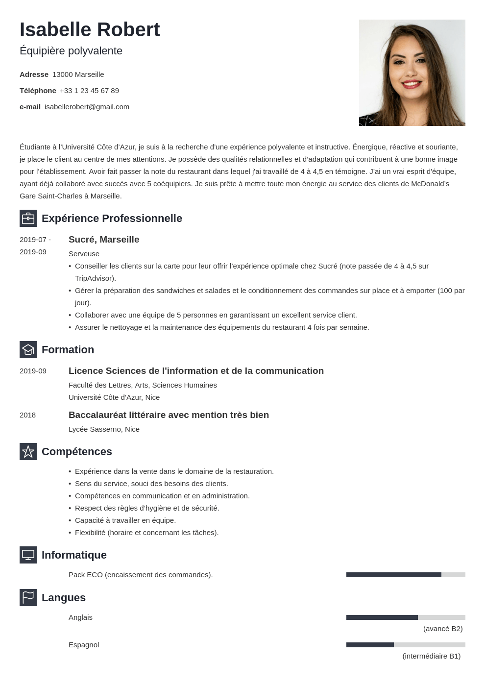 Cv Mcdo Exemple De Cv Pour Recrutement Chez Mcdonald S