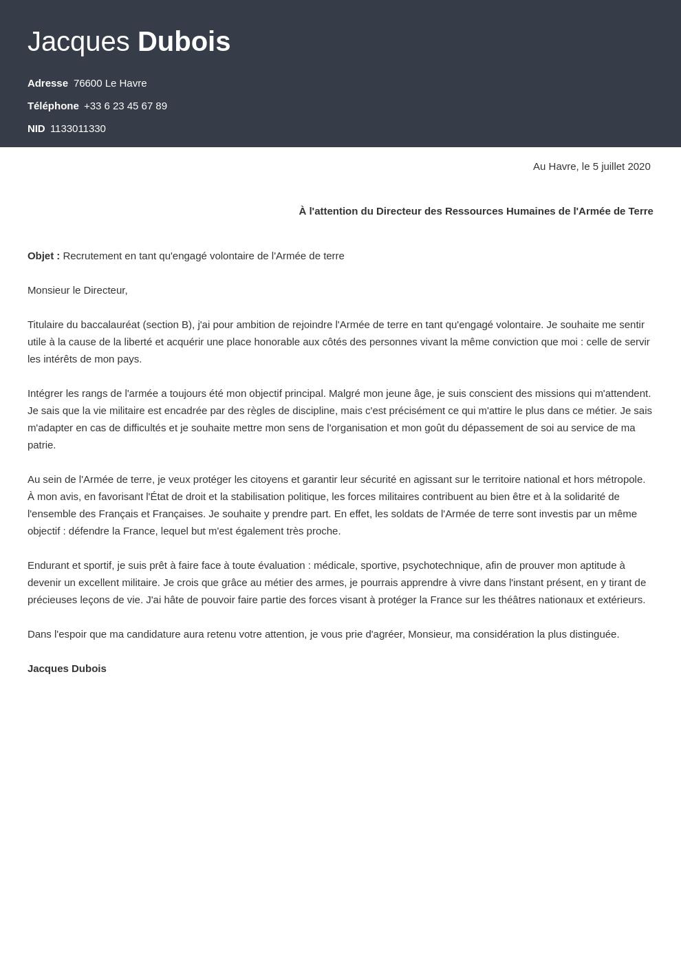 Exemple Lettre De Motivation Armee De Terre Pour Le Cirfa