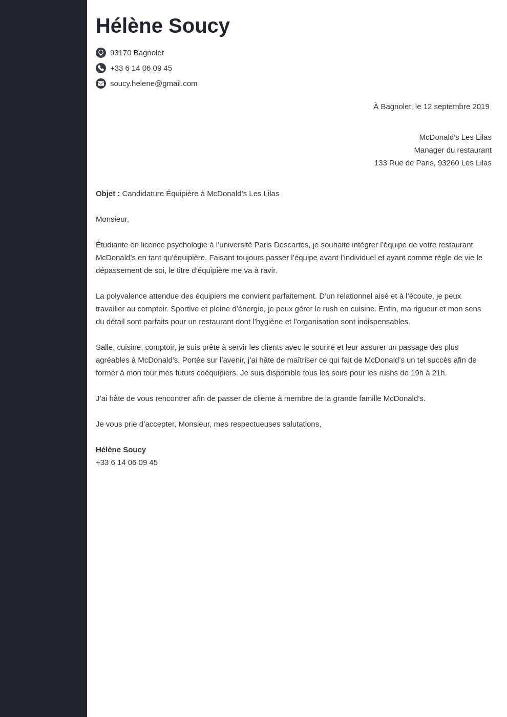 Lettre De Motivation Mcdo Exemple Sans Experience