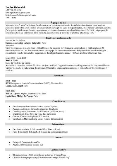 Cv Vendeuse Vendeur Exemple Competences De Cv Vente