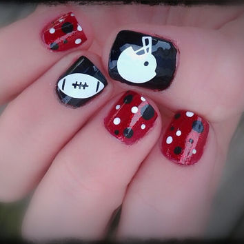 Game Day Helmet And Football One Color Nail Toe Decals 12 Total