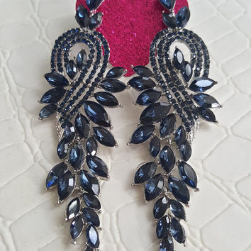 Gorgeous Navy Blue Chandelier Crystal Earrings