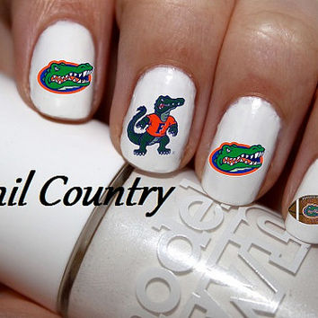 50pc Florida Gators Football Nail Decals Art Stickers Best On Etsy Nc2