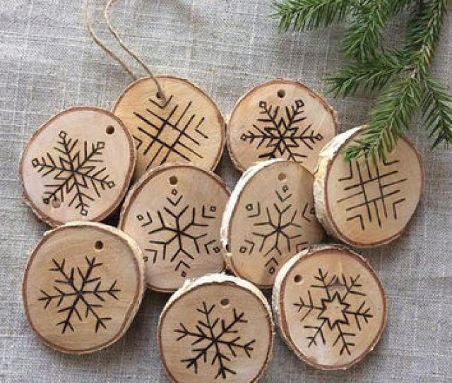 Set Of  Etched Snowflake Ornaments In Birch Wood Slice Christm Rustic Christmas