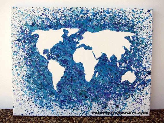 World Map Canvas Painting - Travel From Paintspiration
