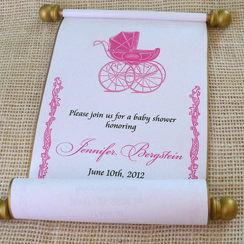 Princess Baby Shower Invitation Scroll Pink And Gold Vintage Carriage Announcement Set Of 10