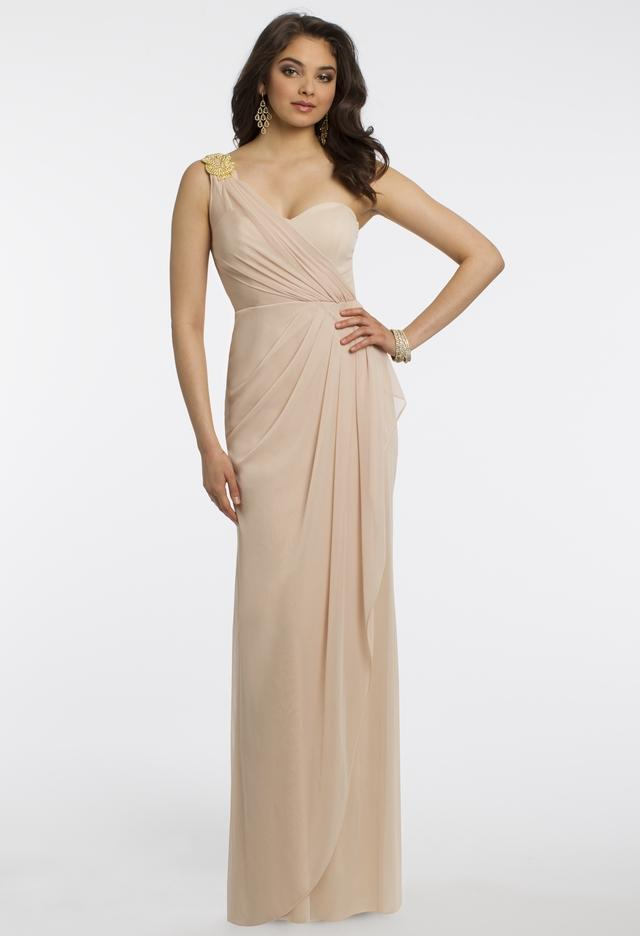 One Shoulder Jersey Dress Wth Rhinestone From Camille La Vie