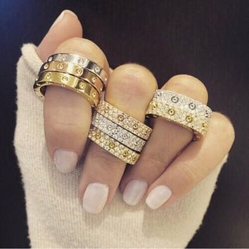 Best Cartier Diamond Rings Products on Wanelo  Cartier  Ring Women Men Full of Diamonds Ring Stars Couple Ring  Accessories