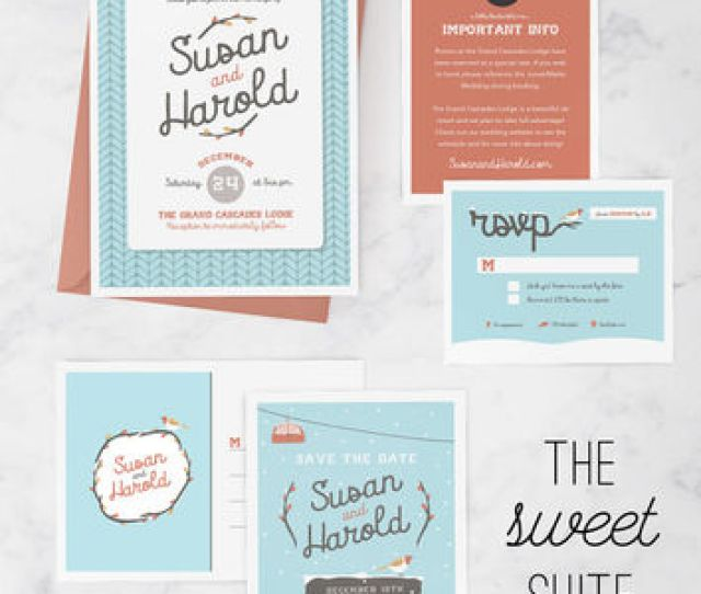 Winter Wedding Invitation Package With Wedding Invitation Save