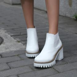 Round Toe High Heels Ankle Boots Platform From Shoeyl Winter 7ef74e3d14d8