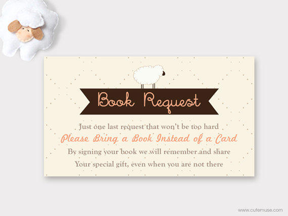 Bring Book Insert Card Baby Shower Invitation A Instead Of