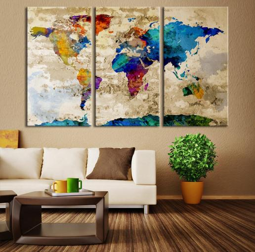 Watercolor World Map Canvas Print  Large from MyCanvasPrint Watercolor World Map Canvas Print  Large World Map Wall Art  Great Design  Great Gift I