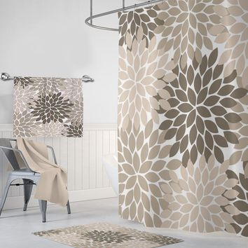 chocolate shower curtain classic floral