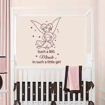 Free Shipping Diy Vinly Tinkerbell Wall Stickers For Nursery Children Home Decoration Mural Tx