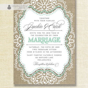 Lace Burlap Wedding Invitation Shabby Chic Pastel Mint Green Rustic Doily Linen 5x7 Printable Diy