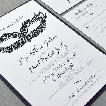 Black And White Wedding Pocket Invite Suite Masquerade Invitation Set Mardi Gras