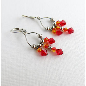 Fire Opal Siam Swarovski Crystal Chandelier Earrings Red And Orange Fall Jewelry