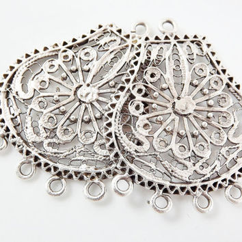 2 Large Exotic Filigree Chandelier Earring Component Pendant 5 Loops Rings Matte Silver Plated