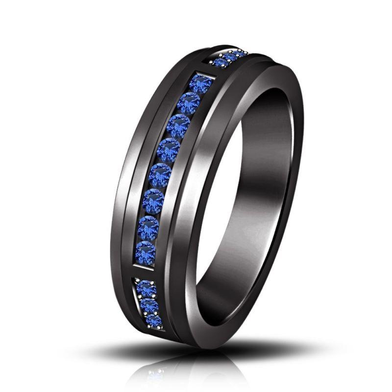 125ct Blue Sapphire Black Rhodium Over From