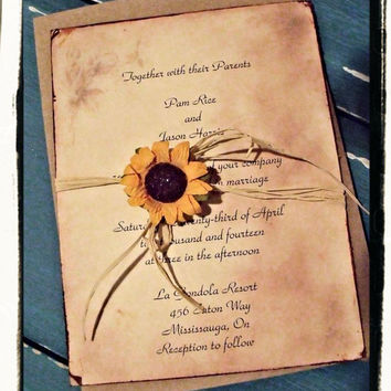 Country Rustic Sunflower Wedding Bridal Shower Invitation Sui