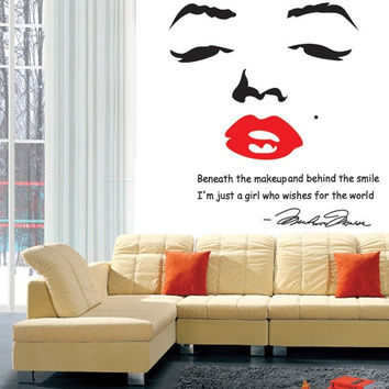 Home Decoration Portrait Of Marilyn Monroe Diy Wall Sticke Wallpaper Stickers Art Decor Mural Room Decal