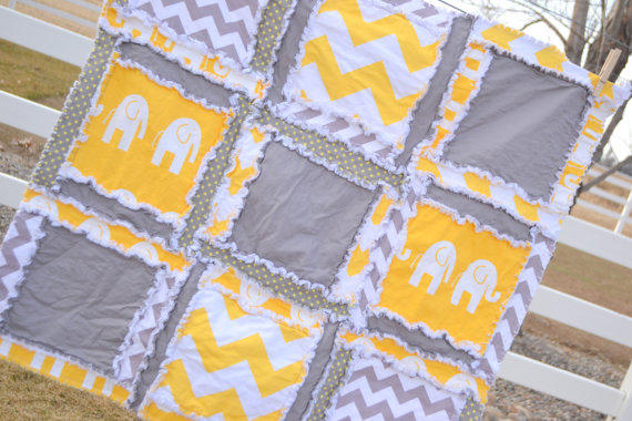 RAG QUILT Elephant Chevron And Polka From