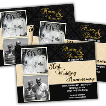 50th Anniversary Invitation Wedding Party Invitations Vow Renewal Then And Now Photo
