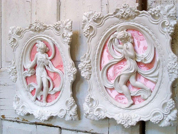 Vintage Plaster Shabby Chic Wall Plaques From