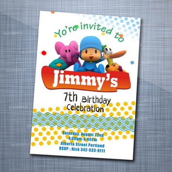 Pocoyo Birthday Colorful Party Invitation Card Design