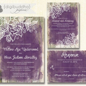 Lace Wood Wedding Invitation 3 Piece Suite Reception Response Rsvp Shabby Chic Beach Plum Purple Amethyst