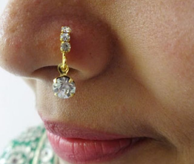 Nose Ring Indian Traditional Nose Ring Medusa Piercing Nose Pin Crystal Stone Nose Ring Studs Jewelry