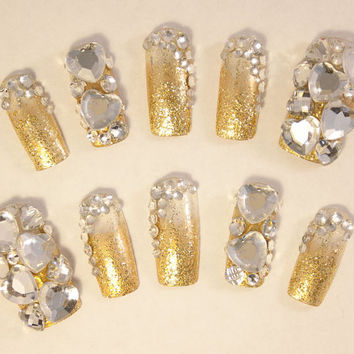 Wedding Bridal Nail Art My Golden Day 3d False Fake Press On