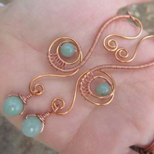 Aventurine Copper Wire Spiral Drop from TheHempChick on Etsy   My Aventurine Copper Wire Spiral Drop Earrings  Green Gemstone Beaded Wire  Wrapped Swirl Accessories  Handmade