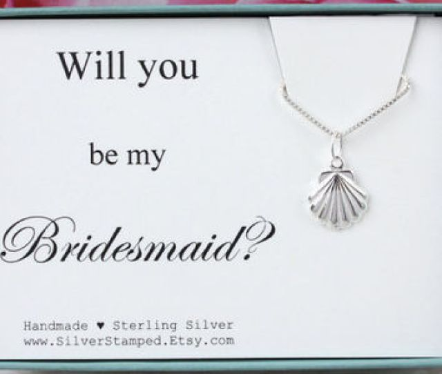 Will You Be My Bridesmaid Invite Sterling Silver Neklace Beach W