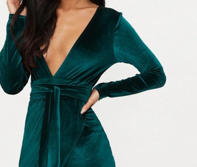 Emerald Green Plunge Wrap Detail Long Sleeve Mini Dress Prettylittlething Usa