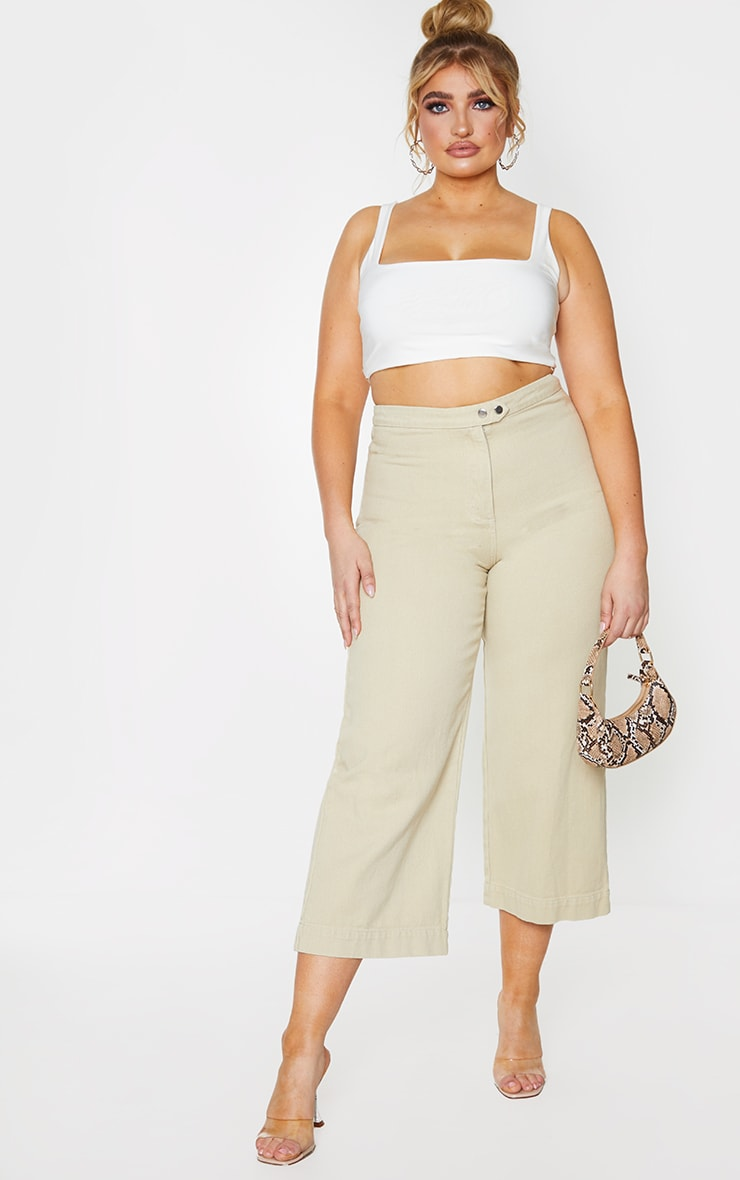 Plus Ecru Denim Culottes 12