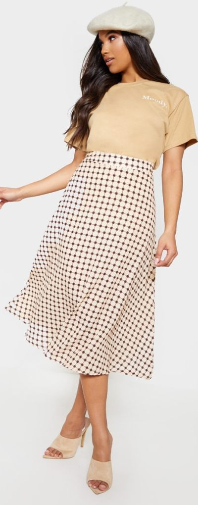 Cream Geometric Print Floaty Midaxi Skirt
