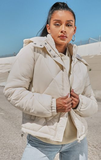 Stone Nylon Diamond Quilted Hooded Puffer Jacket